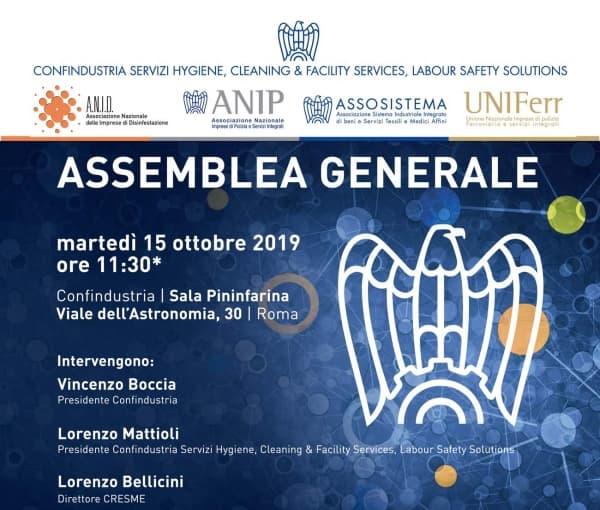 15 ottobre a Roma l'assemblea generale di Confindustria Servizi Hygiene, Cleaning & Facility Service, Labour Safety Solutions